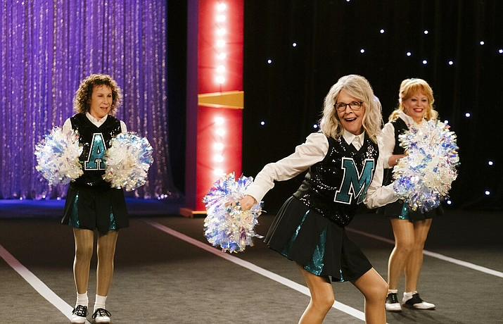 "This image released by STXfilms shows Rhea Perlman, from left, Diane Keaton and Jacki Weaver in a scene from ""Poms."" (STXfilms via AP)"