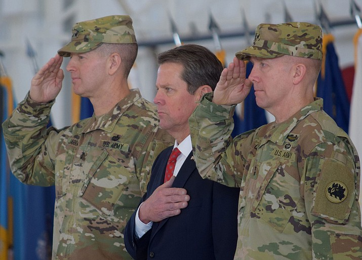 Georgia Gov. Brian Kemp with the Georgia National Guard on Jan. 26, 2019. Kemp signed legislation banning abortions once a fetal heartbeat can be detected, which can be as early as six weeks before many women know they're pregnant. (Georgia National Guard Photo by Maj. William Carraway)