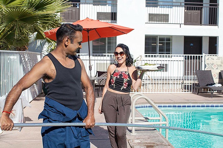 """Neel Patel and Devanny Pinn during a scene from """"Mr. Deshee."""" (Courtesy/Mr. Deshee)"""