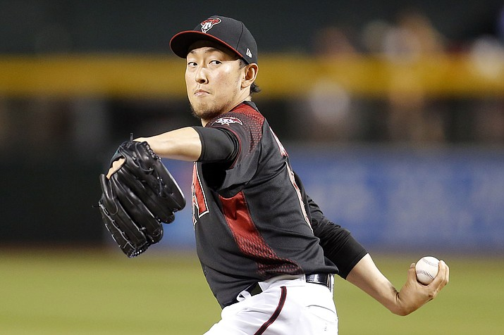 Arizona Diamondbacks pitcher Yoshihisa Hirano throws in the ninth inning against the Atlanta Braves, Saturday, May 11, 2019, in Phoenix. (Rick Scuteri/AP)