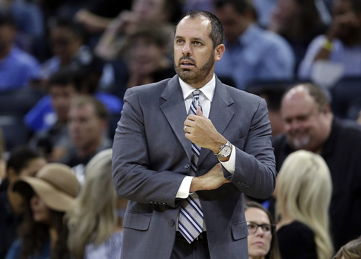 In this Oct. 24, 2017, file photo, Orlando Magic coach Frank Vogel watches his team play the Brooklyn Nets during the first half of an NBA basketball game in Orlando, Fla. (John Raoux/AP)