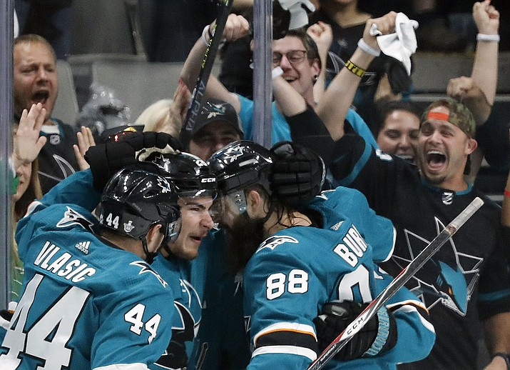 San Jose Sharks' Marc-Edouard Vlasic (44), Timo Meier (28) and Brent Burns (88) celebrate a goal by Meier against the St. Louis Blues in the second period in Game 1 of the Stanley Cup Western Conference finals in San Jose, Calif., Saturday, May 11, 2019. (Josie Lepe/AP)