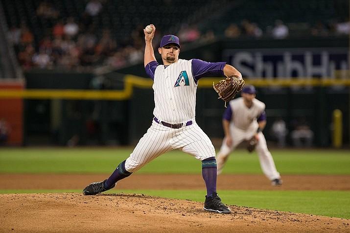 Zack Godley's returned to the starting rotation for two innings in the D-backs' 5-3 loss to Atlanta on Sunday, May 12, 2019. ( (File photo courtesy of Sarah Sachs/Arizona Diamondbacks)
