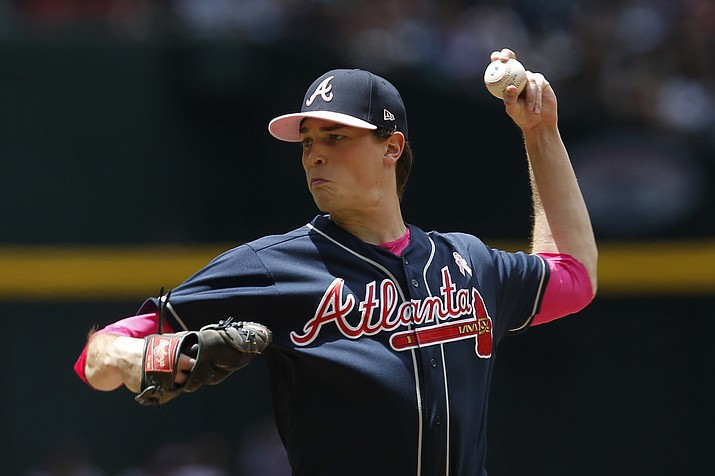 Atlanta Braves pitcher Max Fried throws against the Arizona Diamondbacks in the first inning during a baseball game, Sunday, May 12, 2019, in Phoenix. (Rick Scuteri/AP)