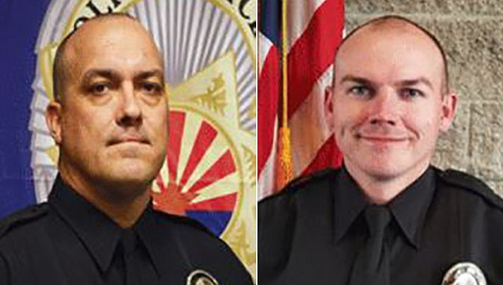 Prescott Valley Police officers Paul Hines and Branden Kelly. (PVPD/Courtesy)
