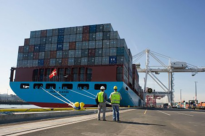 The Marit Maersk loaded with shipping containers at the Port of Tacoma. China has announced tariff hikes on $60 billion of U.S. goods in retaliation for President Donald Trump's escalation of a fight over technology and other trade disputes. (Port of Tacoma photo)