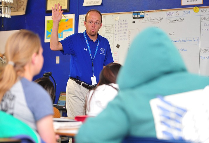 Marc Metz teaches his World History class to students at Chino Valley High School Wednesday, May 8. (Les Stukenberg/Prescott News Network)