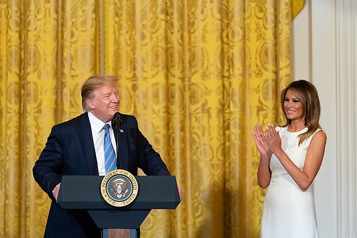 President Donald Trump and First Lady Melania Trump hold a Celebration of Military Mothers in the East Room of the White House on Friday, May 10, 2019. (Official White House Photo by Andrea Hanks)