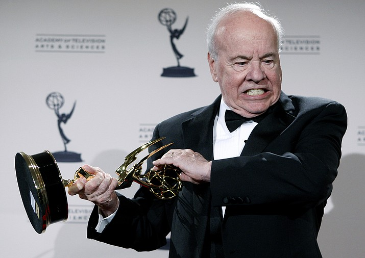 "In this Sept. 13, 2008 file photo, actor Tim Conway poses with his award for Outstanding Guest Actor in a Comedy Series for his work on ""30 Rock"" in the press room at the Creative Arts Emmy Awards in Los Angeles. Conway, the stellar second banana to Carol Burnett who won four Emmy Awards on her TV variety show, has died, according to his publicist. He was 85. Conway died Tuesday morning, May 14, 2019, after a long illness in Los Angeles, according to Howard Bragman, who heads LaBrea Media. (AP Photo/Matt Sayles, File)"