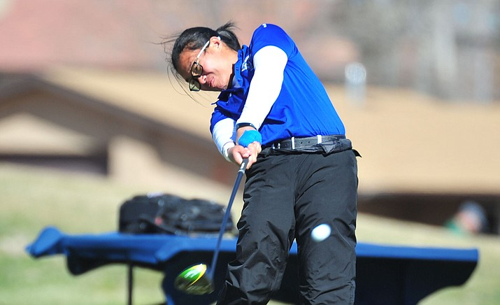 Embry-Riddle's Nicole Lopes shot an 82 (+10) during day one of the NAIA Women's National Championship on Tuesday, May 14, at the Lincoln Park Golf Club's West Course in Oklahoma City. Her score has her tied for 107th place in the individual standings. (Les Stukenberg/Courier, file)