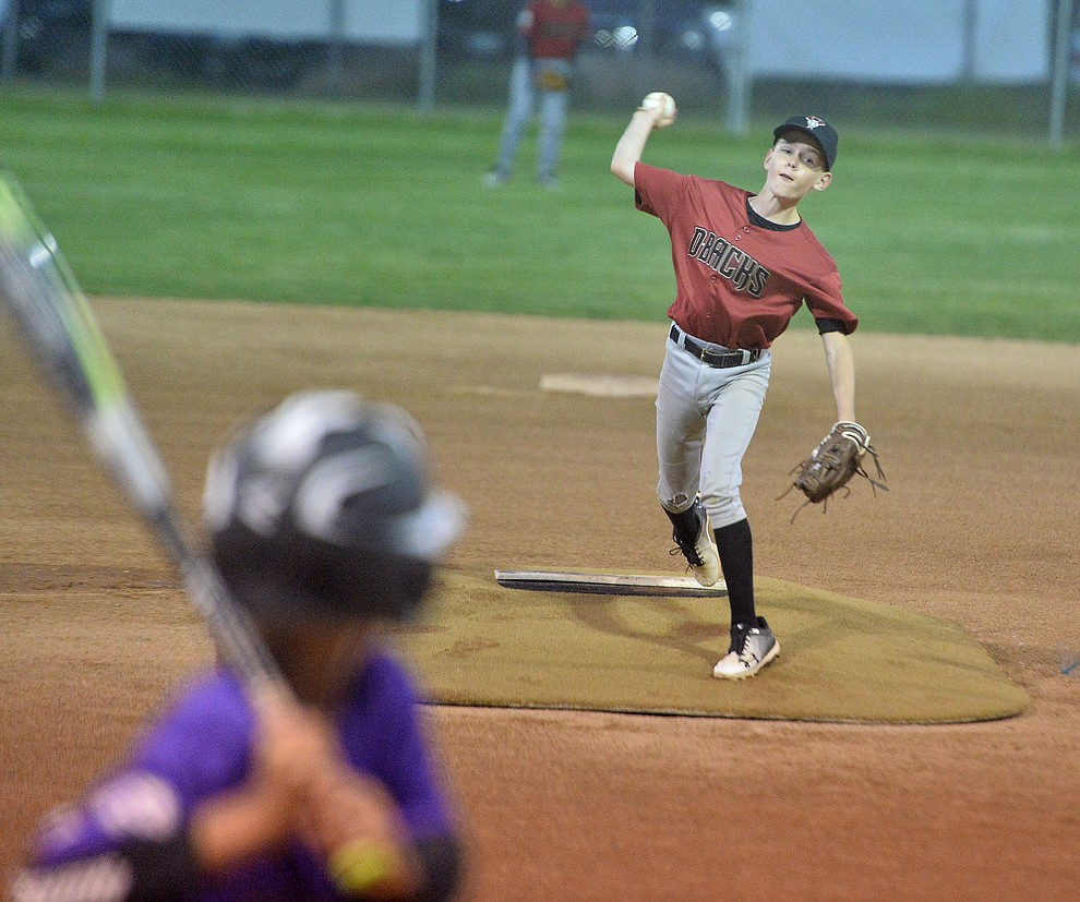 Ethan Warren delivers a pitch during the Prescott Little League majors City Championship semi-final game Tuesday, May 14.  (Les Stukenberg/Courier)
