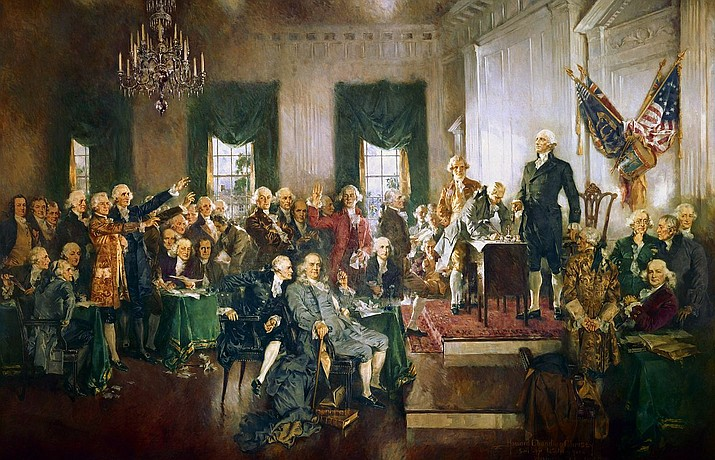 This 1940 oil-on-canvas painting by Howard Chandler Christy, depicts the Constitutional Convention signing the U.S. Constitution at Independence Hall in Philadelphia on September 17, 1787. As Americans, we are blessed to live in a country that I believe was divinely endowed with the gift of choice. Unlike Taliban-controlled Afghanistan, we can send our daughters to school, listen to music, travel where we wish, bear arms and worship God as our own hearts dictate.