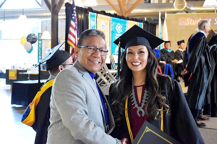 Navajo Nation Vice President Myron Lizer attended and spoke at the May 10 commencement ceremony at Coconino Community College. (Photos courtesy of the Office of the President and Vice President via Facebook)