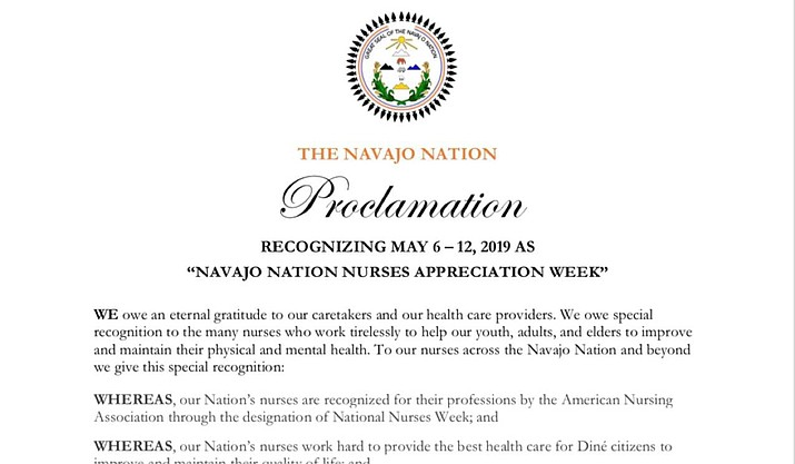 A proclamation recognizing May 6 – 10 as Navajo Nation Nurses Appreciation Week across the Navajo Nation was signed by Navajo Nation President Jonathan Nez. (Photo/Office of the President and Vice President)