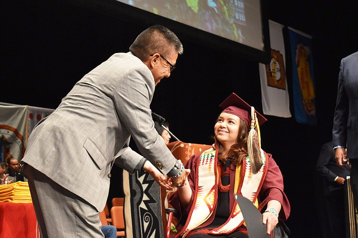 Navajo Nation Vice President Myron Lizer attends the Arizona State University American Indian Convocation May 8 on the Tempe Campus. (Photo courtesy of the Office of the President and Vice President via Facebook
