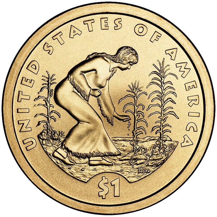 Three Sisters as featured on the reverse of the 2009 Native American U.S. dollar coin. (U.S. Mint)