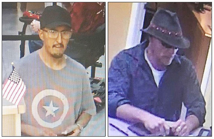 LEFT: Robbery suspect at the OneAZ Credit Union on Pav Way in Prescott Valley on Friday, July 13, 2018. RIGHT: The suspect in this surveillance video is being sought by police for allegedly robbing the Credit Union West in Prescott Valley on Friday, May 3, 2019. (PVPD/Courtesy)