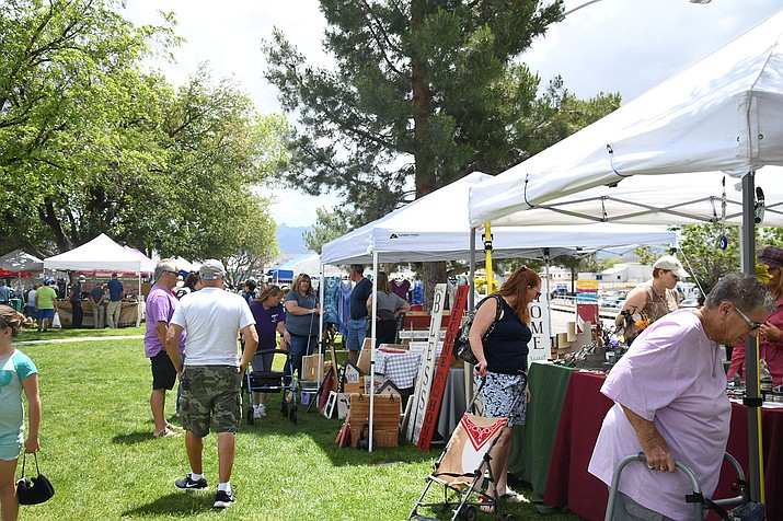 Nice weather is here and so are the craft fairs and farmers market. Community members can visit the Kingman Farmers Market or the Stockton Hill Road Craft Fair and Swap Meet Saturday, May 18. In this picture, during Mother's Day weekend there was another craft fair at Locomotive Park. (Photo by Vanessa Espinoza/Daily Miner)