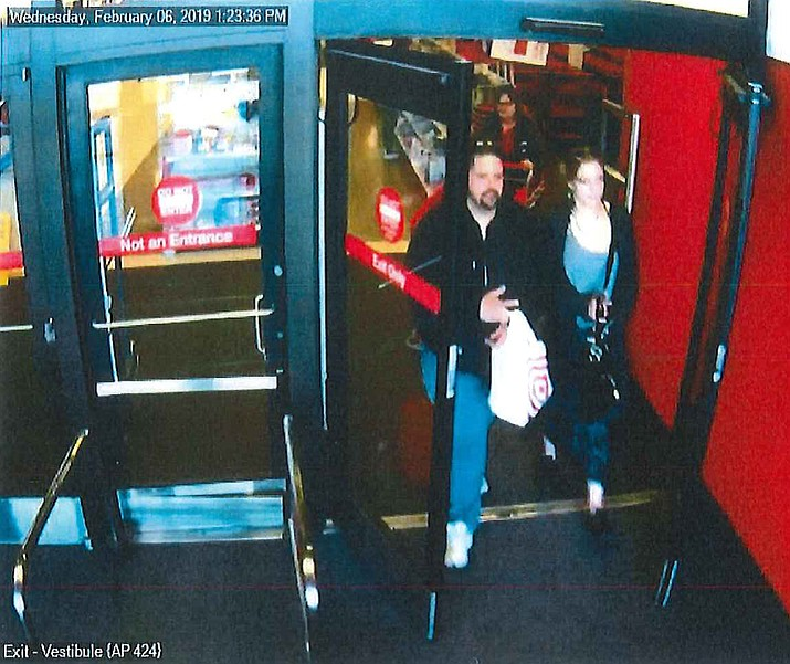 Police are asking the public to help identify and locate the man and woman in this security camera footage taken at Target in Prescott on Feb. 6, 2019. (Prescott Valley Police Department/Courtesy)