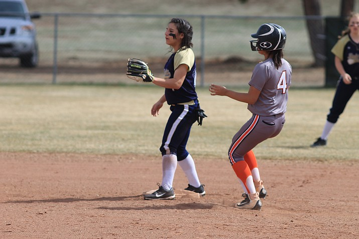 Viking Aaliyah Alvarado rolls into second base in an earlier season game. Alvarado and several other Vikings received All-Region honors. (Wendy Howell/WGCN)