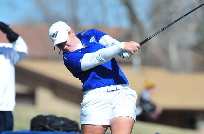 Embry Riddle's Jessica Williams tees off during the ERAU Spring Invitational Golf Tournament on a windy Monday, March 11, 2019 at the Antelope Hills Golf Course in Prescott. She and Elle Carlson were the only ERAU players that qualified for the final round in the NAIA Women's National Championship tournament May 17 at Lincoln Park Golf Course. (Les Stukenberg/Courier, file)