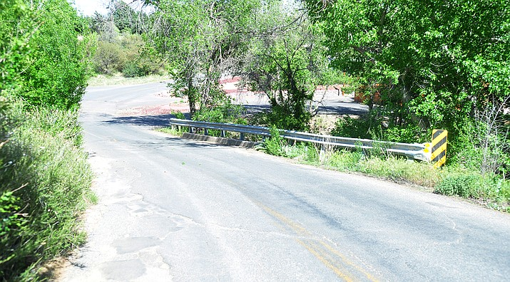 This bridge on South Overland Road near the Cactus Mobile Ranch mobile home community and the area around it may be taken into the City of Prescott through eminent domain. (Les Stukenberg/Courier)