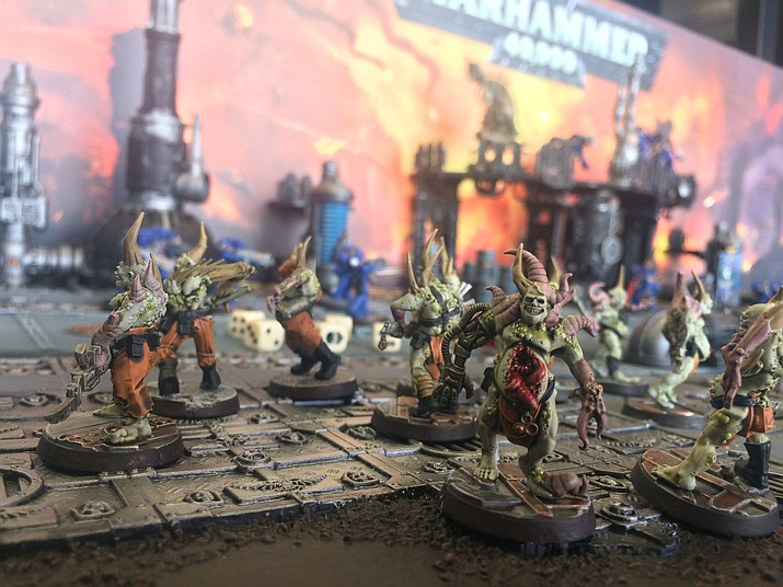 "Miniature figures used for the ""Warhammer"" tabletop wargame. (Jason Wheeler/Courier)"
