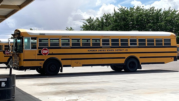 This is one of Kingman Unified School District's older buses, and could be chopped in half as a requirement by the state as part of a deal for four new buses this year. (Photo by Tim Gardner/Courtesy)