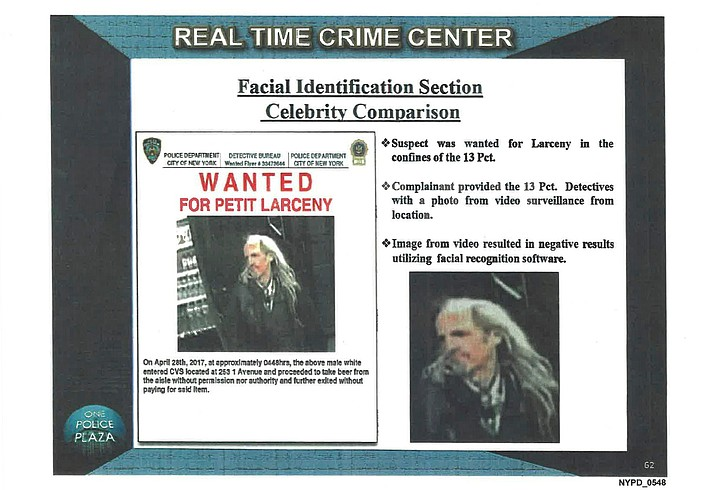Pictured are presentation material with images of a wanted suspect in a New York Police Department document. Georgetown University's Center on Privacy and Technology published a report Thursday, May 16, 2019, on what it says are flawed practices in law enforcement's use of facial recognition. The report says NYPD used a photo of Woody Harrelson in its facial recognition program in an attempt to identify the beer thief who looked like the actor. (Georgetown University Center on Privacy and Technology via AP)