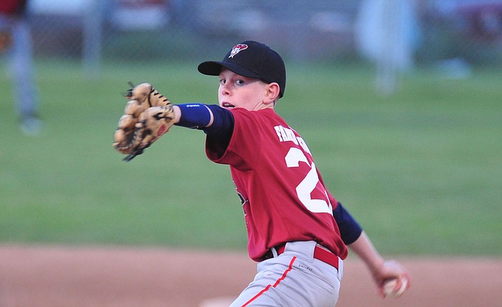 Cooper Magnett pitches as Farmers Insurance faced off against the True Value in the Prescott Little League Majors City Championship Game Friday, May 17. (Les Stukenberg/Courier)
