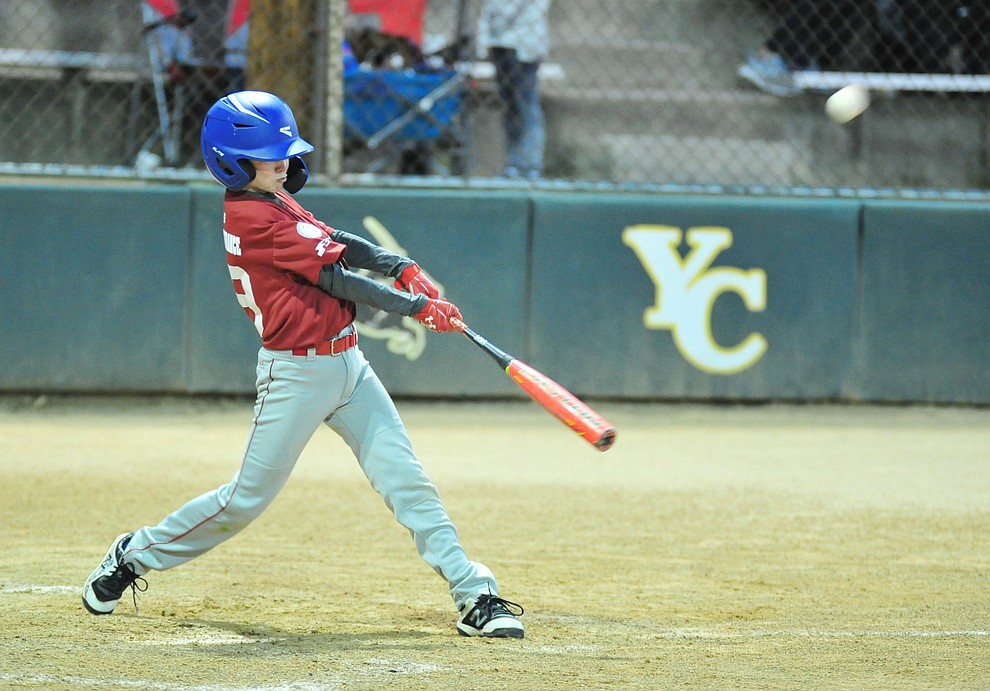 Colton Champion makes contact as Farmers Insurance faced off against the True Vaue in the Prescott Little League Majors City Championship Game Friday, May 17.  (Les Stukenberg/Courier)