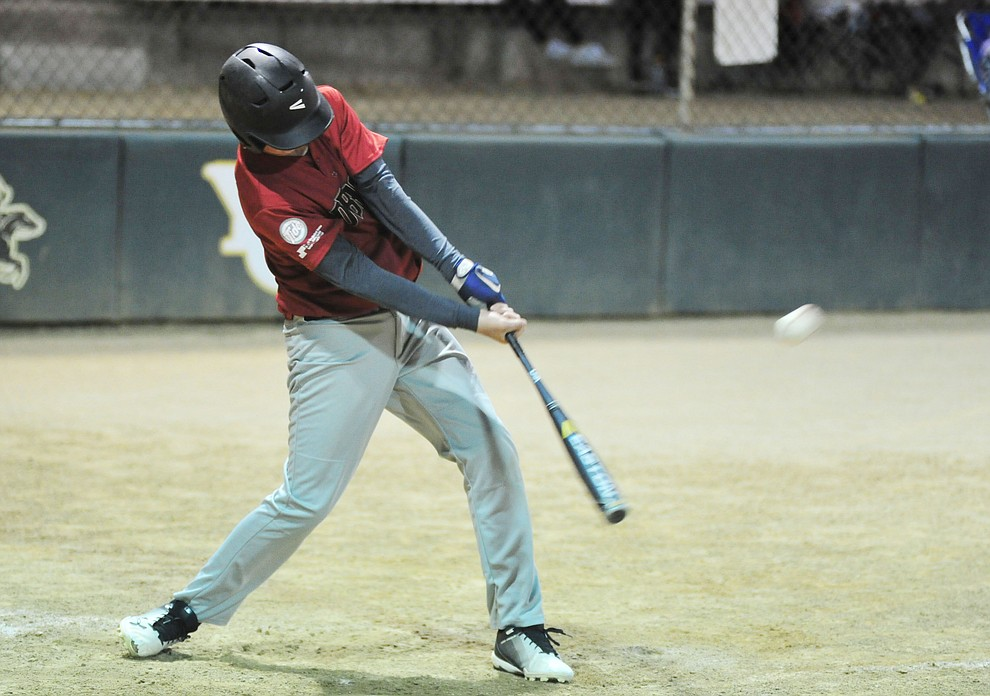 Zane Gaul makes contact as Farmers Insurance faced off against the True Vaue in the Prescott Little League Majors City Championship Game Friday, May 17.  (Les Stukenberg/Courier)