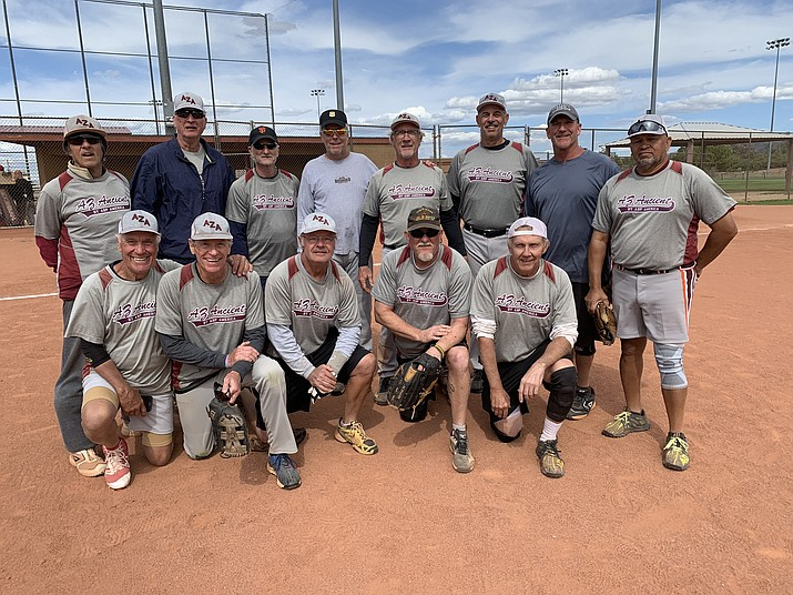 Senior softball team Scottsdale AZ Ancients poses for a team photo as they took the men's 65 division championship over Prescott team Bucky's at the Tobin-Glick Tournament on Friday, May 17, in Prescott. (Ted Gambogi/Courtesy)