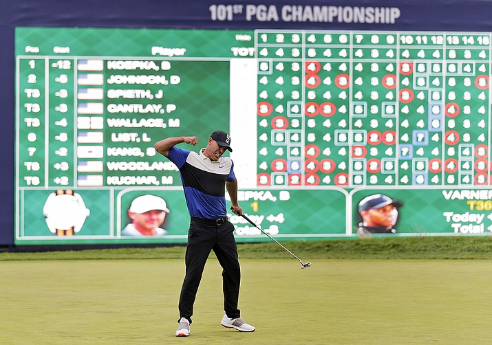 Brooks Koepka reacts after winning the PGA Championship, Sunday, May 19, 2019, at Bethpage Black in Farmingdale, N.Y. (Seth Wenig/AP)