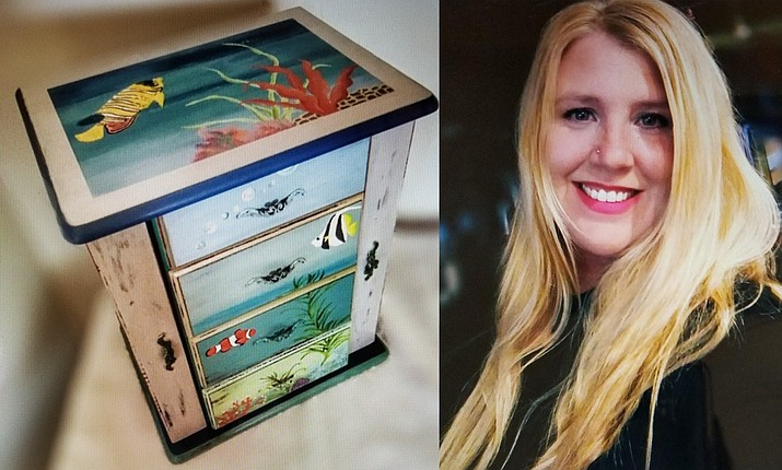 "For her ""Flying Colors Furniture Shoppe,"" Megan Kelley delights in rescuing, repairing, re-imagining and refurbishing small pieces of discarded furniture which, under her imaginative treatment are lovingly 'upcycled' into functional and uniquely beautiful one-of-a-kind hand painted, ornate jewelry boxes."