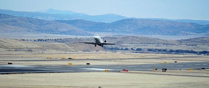 A United Express flight departs for Denver on Jan. 10, 2019, from Prescott Regional Airport. Less than five months into 2019, Prescott Regional Airport has hit the crucial 10,000-passenger mark for the year. (Les Stukenberg/Courier, file)