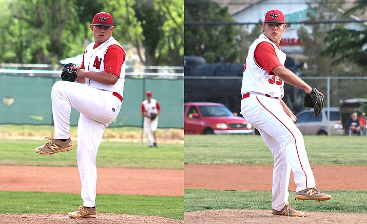 Mike Bathauer, left, and twin brother Matt were named to the 4A All-State first team. They were the only first-team selections from the 4A Grand Canyon Region. (Daily Miner file photos)