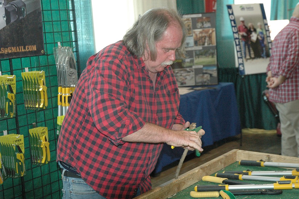 Michael D. Scanell demonstrating Ryker tools at the YCCA Home & Garden Show Saturday, May 18 at the Findlay Toyota Center. The event continues through Sunday, May 19. (Jason Wheeler/Courier)