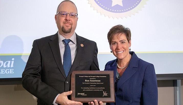 Ron Sauntman and YC President Dr. Lisa Rhine. Photo Credit: Bill Leyden