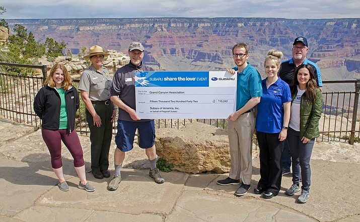 Subaru representatives presented a grant worth $15,942 to the Grand Canyon Conservancy May 7. (Submitted photo)