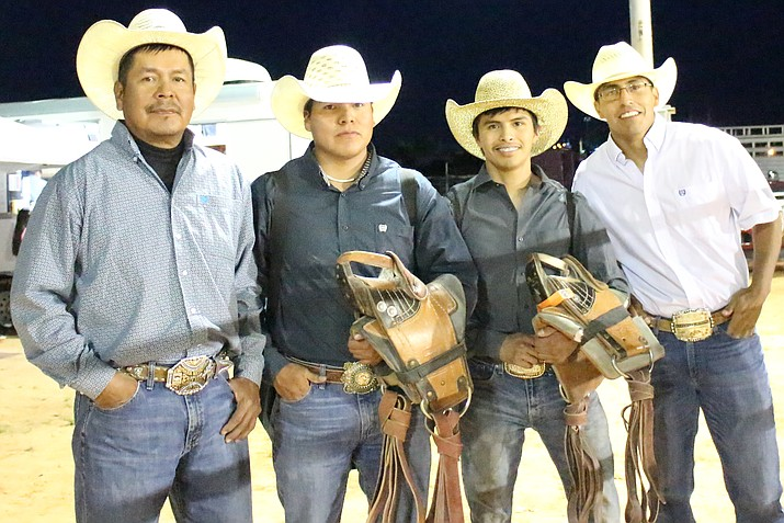 From left: bareback winner Benny Begaye, Rodney Begay, Whistle Joe and Cly Ramone, who also competed in Page, Arizona during the Indian National Final Rodeo Tour May 11-12. Kyla Rivas/NHO