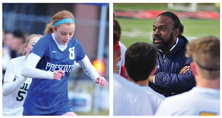 Erika Smith, left, of the Prescott girls soccer team was voted the Badgers' female Athlete of the Year, while Phil Reid was voted as Prescott's Coach of the Year alongside track and field coach Cylinda Bray. (Courier file photos)
