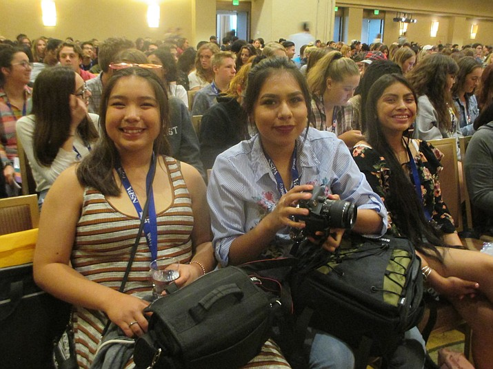 Hopi High media students Jackie Thorpe, Amber Labahe and Kimmale Anderson are among the swarm of journalism students at the National High School Journalism conference. (Stan Bindell/NHO)