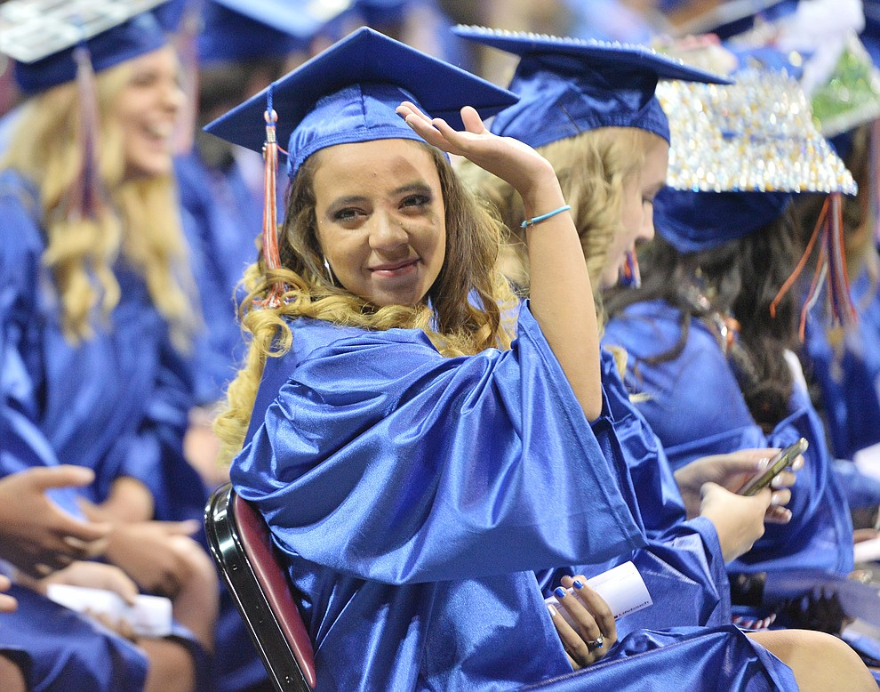 Sarah Koubi, a foreign exchange student from Morocco was one of 153 students that graduated from Chino Valley HIgh School in a commencement ceremony Wednesday, May 22 at the Findlay Toyota Center in Prescott Valley.  (Les Stukenberg/Courier)