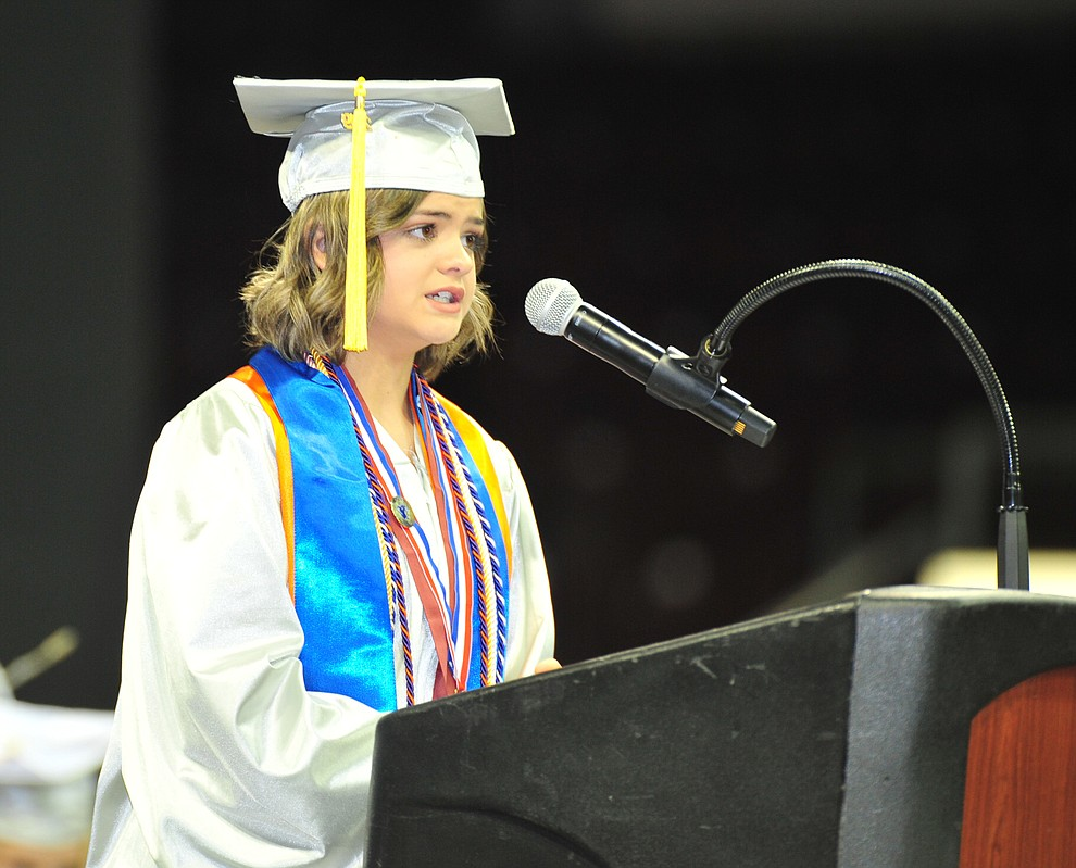 Student Body President Coury Hawks gives the invocation as Chino Valley HIgh School graduated 153 students in a commencement ceremony Wednesday, May 22 at the Findlay Toyota Center in Prescott Valley.  (Les Stukenberg/Courier)
