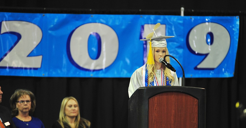 Senior Class President Lauren Foster speaks about reflections as Chino Valley HIgh School graduated 153 students in a commencement ceremony Wednesday, May 22 at the Findlay Toyota Center in Prescott Valley.  (Les Stukenberg/Courier)