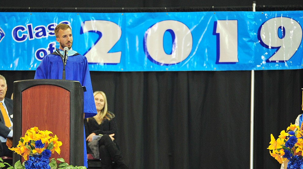 Keynote speaker Travis Miller speasks as Chino Valley HIgh School graduated 153 students in a commencement ceremony Wednesday, May 22 at the Findlay Toyota Center in Prescott Valley.  (Les Stukenberg/Courier)
