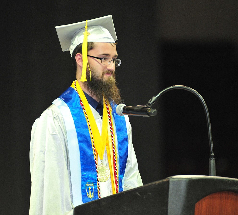 Valedictorian Jacob Akans speaks as Chino Valley HIgh School graduated 153 students in a commencement ceremony Wednesday, May 22 at the Findlay Toyota Center in Prescott Valley.  (Les Stukenberg/Courier)