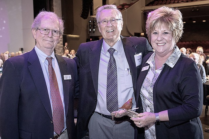 From left, Don Michelman, president of the Yavapai College Foundation Board of Directors; Harvey Skoog, former mayor of Prescott Valley; and Marnie Uhl, president and CEO of the Prescott Valley Chamber of Commerce. (Bill Leyden Photography/Courtesy)