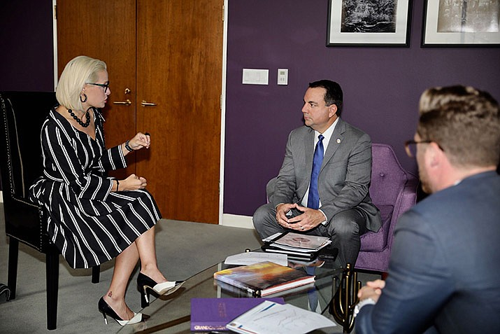 Sen. Kyrsten Sinema met with Yuma Mayor Douglas Nicholls earlier this month. Sinema and Sen. Martha McSally have joined efforts to eradicate Valley Fever. (Office of Sen. Kyrsten Sinema photo)